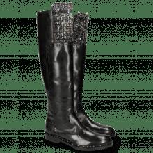 Kozaki Sally 61 Rio Black Textile Spark Rivets Welt