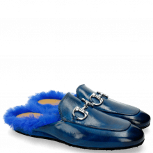 Mule Clive 2 Bluette Trim Nickel Fur Lining