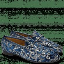 Mokasyny Scarlett 1 Textile Zardosi Blue