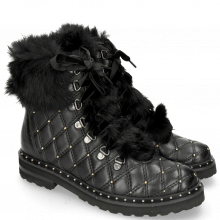 Botki Bonnie 17 Nappa Black Fur Gold Rivets Velvet