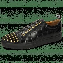 Sneakersy Harvey 12 Oily Suede Crock Monza Vegas Turtle Patent Black Rivets