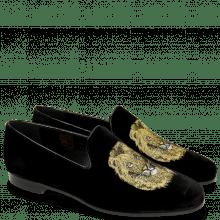 Mokasyny Scarlett 6 Velluto Black Embroidery Lion