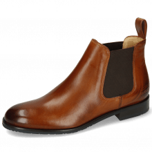 Botki Sally 25 Wood Elastic Dark Brown Lining Rich Tan