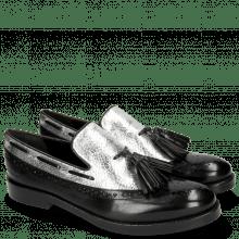 Mokasyny Amelie 60 Black Cromia Silver Tassel