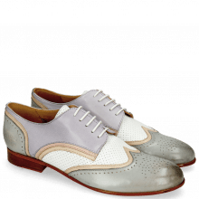 Derby Sally 15 Salerno French Grey Nude Nappa Perfo White Lavender