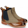 Botki Amelie 5 Wood Textile English Elastic Navy