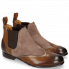 Botki Sally 19 Mid Brown Tan Nappa Aztek Bronze Oily Suede Chestnut
