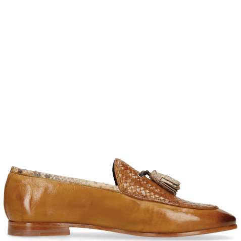 Mokasyny Scarlett 44 Nappa Glove Camel Weave Tan Snake