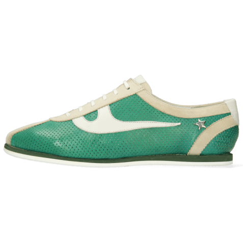 Sneakersy Pearl 1 Goat Suede Ivory Imola Perfo Green House Nappa White