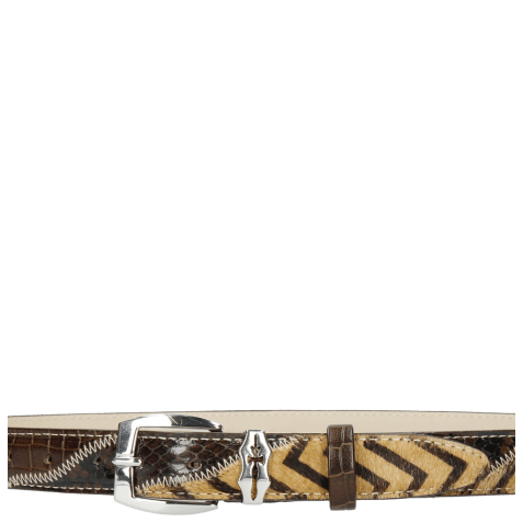 Paski Linda 1 Crock Brown Hairon Driveway Sword Buckle
