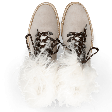 Botki Amelie 79 Suede Pattini Jute Collar Fur Mongolian