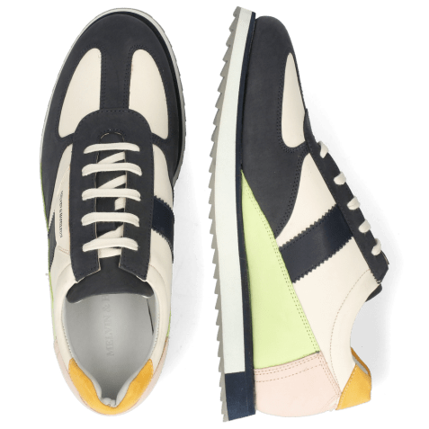 Sneakersy Nadine 1 Nubuck Navy Cream White Lime Rose Kumquat