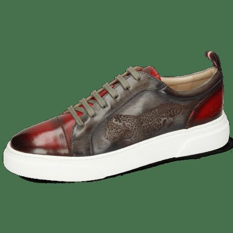 Sneakersy Harvey 12 Red Grigio Shade Lasercut Leopard