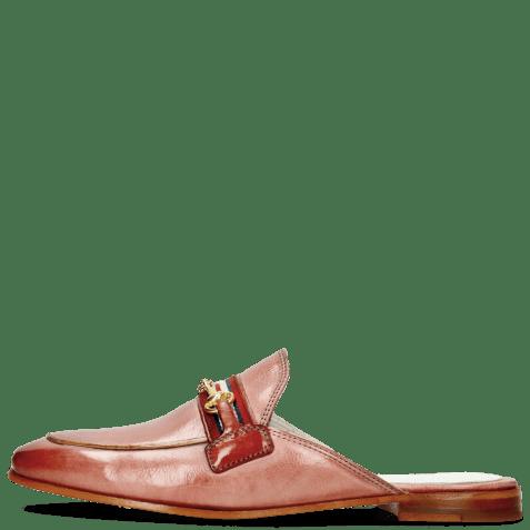Mule Scarlett 46 Glove Nappa Pink Salt Trim Gold