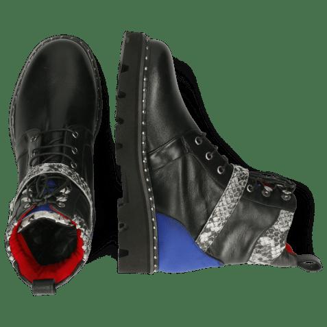 Botki Winslet 4 Nappa Black Lycra Fluo Blue Snake