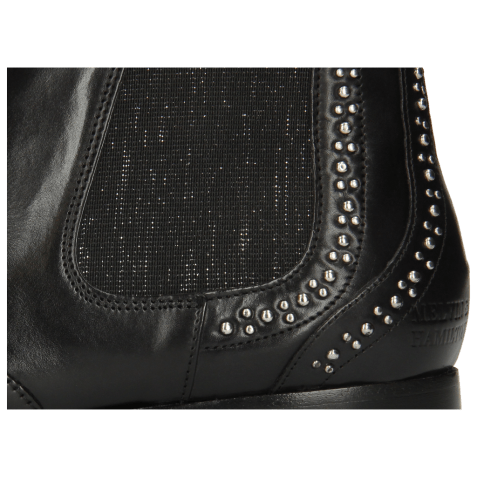 Botki Sally 45 Black Rivets Elastic Glitter