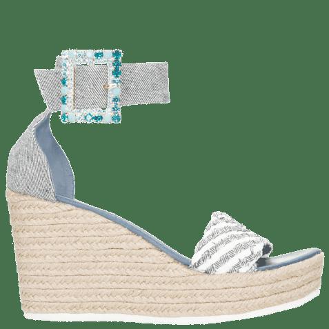 Sandały Abby 2 Denim Light Blue Raffia White