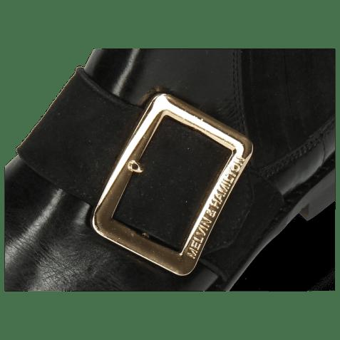 Botki Selina 46 Black Suede Strap Gold
