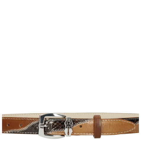 Paski Linda 2 Mid Brown Python Brown Sand Sword Buckle