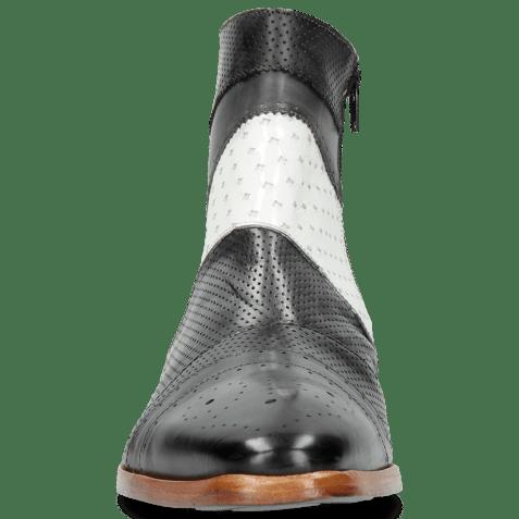 Botki Elvis 26 Perfo Black Soft Patent White