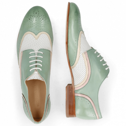 Derby shoes Sally 15 Verona Tropical Sea Ivory Nappa Perfo White