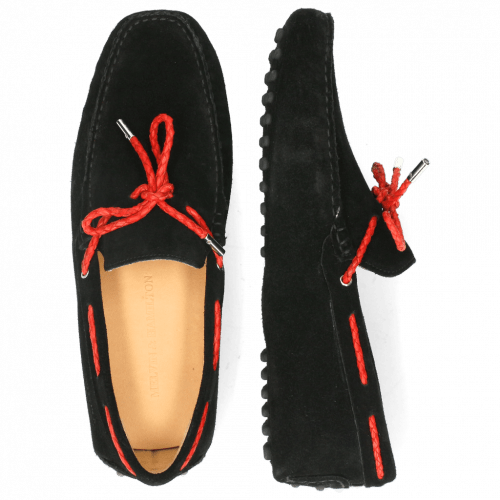Loafers Nelson 3 Suede Pattini Black Woven Red