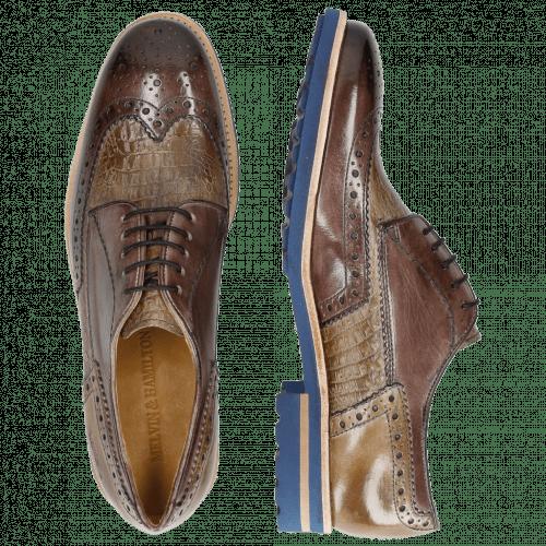 Derby shoes Johnny 1 Classic Stone Smog Baby Croco Smog Crip Blue