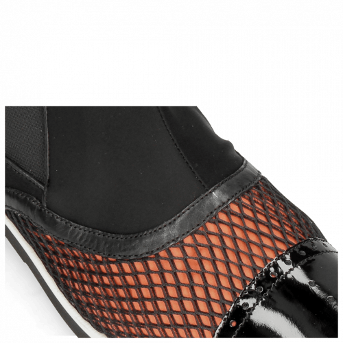 Ankle boots Lance 22 Patent Net Black Lycra Orange