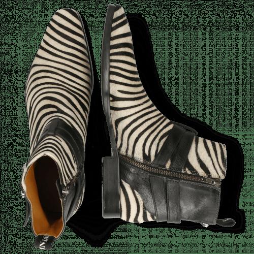 Ankle boots Elvis 45  Hairon Zebra Black White