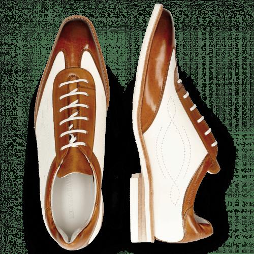 Oxford shoes Dave 6 Tan Vegas White Tongue Nappa Glove Camel