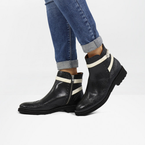 Ankle boots Amelie 11 Brazil Black White Strap