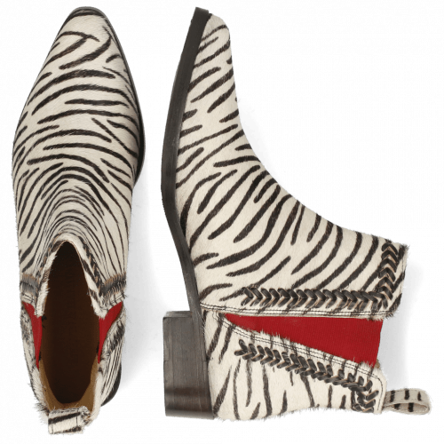 Ankle boots Marlin 10 Hairon Zebra Elastic Red