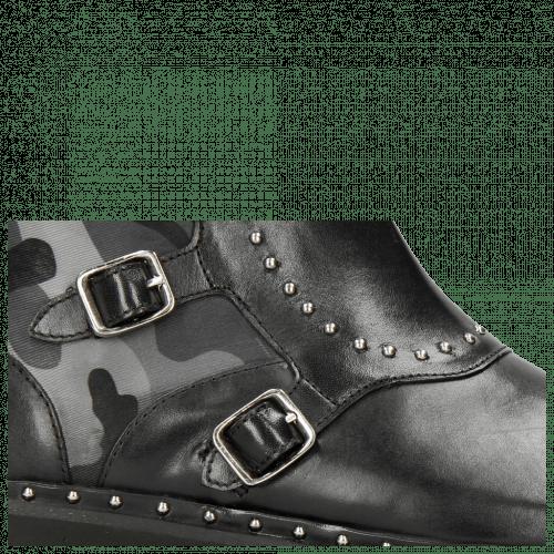 Ankle boots Susan 45 Black Textile Camo Metallic Blue Loop Rivet