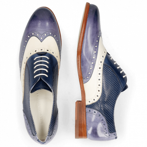 Oxford shoes Selina 24 Vegas Moroccan Blue White Navy Perfo