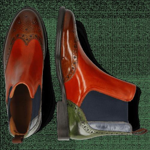 Ankle boots Selina 6 Wood Winter Orange Navy Green Elastic Navy