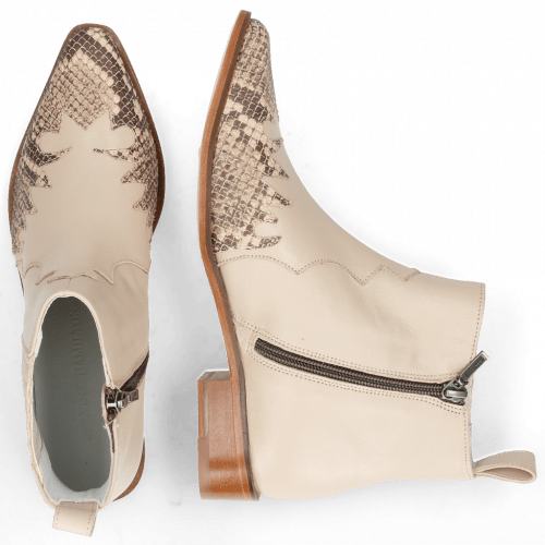 Ankle boots Marlin 46 Snake Sand Nappa Glove Ivory