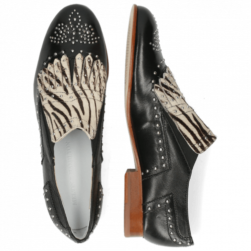 Loafers Sally 95 Nappa Glove Black Hairon Young Zebra