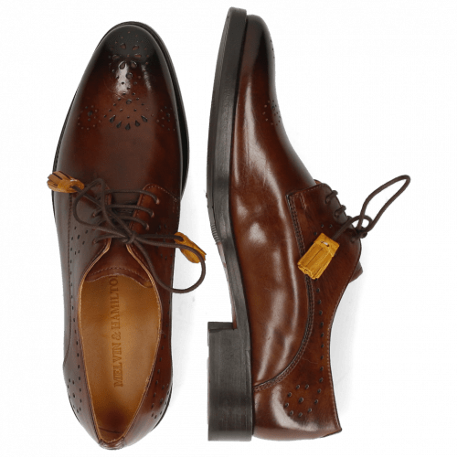 Derby shoes Betty 2 Mid Brown Tassel Indy Yellow