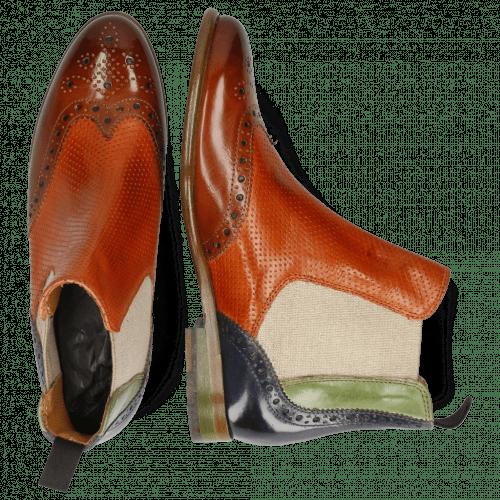 Ankle boots Selina 6 Tan Perfo Arancio New Grass Avio