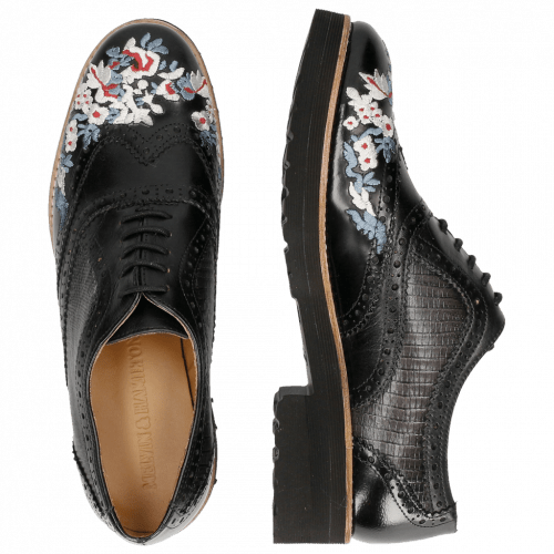Oxford shoes Esther 9 Brush Ecocalf Guana Black Embrodery Black