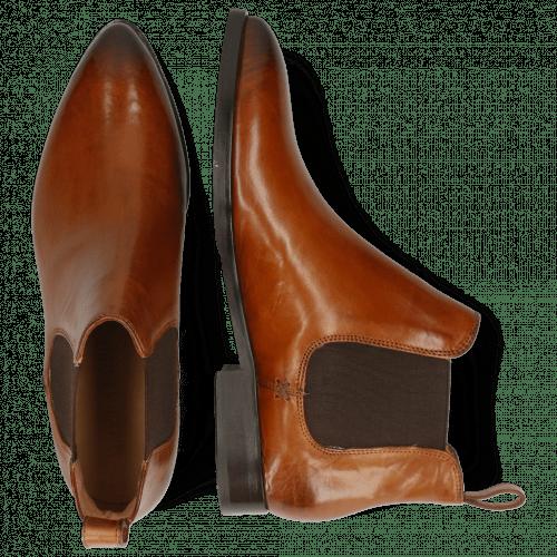 Ankle boots Jessy 1 Tan Elastic Dark Brown