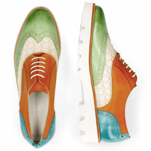 Oxford shoes Selina 24 Vegas Lawn Perfo White Tibet Turquoise