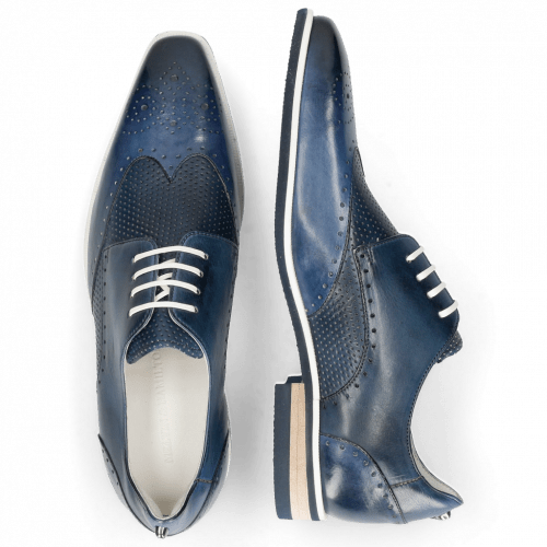 Derby shoes Dave 2 Tough Vegas Nappa Navy Glove Perfo