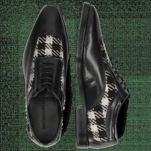 Oxford shoes Sara 1 Soft Patent Black Textile Square Black White