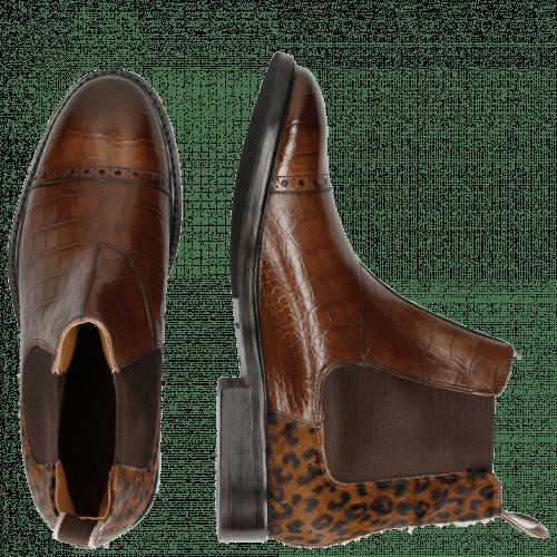 Ankle boots Matthew 10 Big Croco Dark Brown Hairon Cappu Elastic Brown