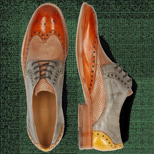 Derby shoes Amelie 3 Arancio Perfo Make Up Satellite Ocra