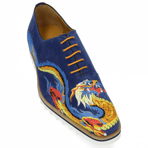 Oxford shoes Clark 25 Suede Mid Blue Embrodery Dragon