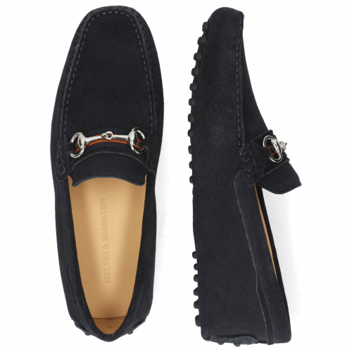 Loafers Nelson 16 Suede Pattini Navy Dots