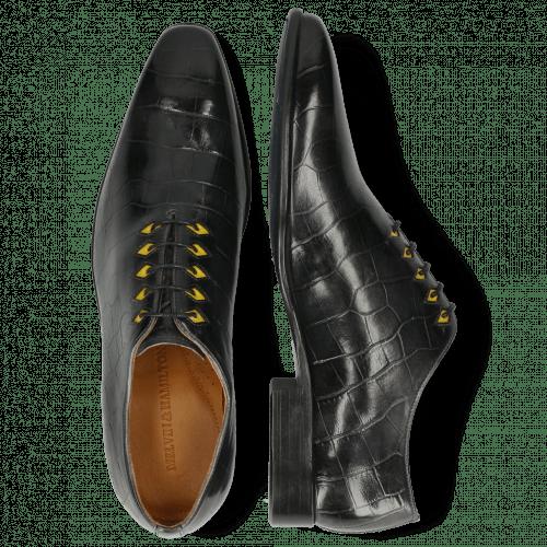 Oxford shoes Lance 28 Big Croco London Fog Eyelet Fluo Yellow