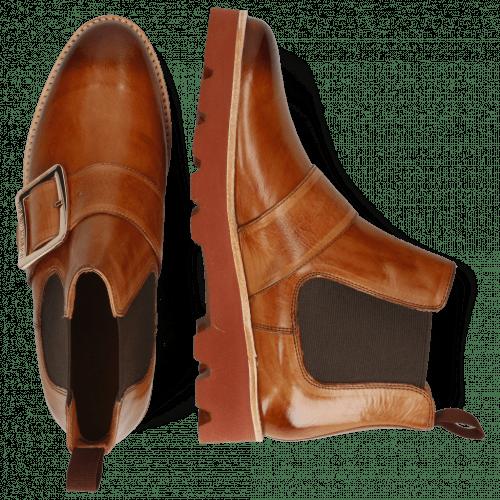 Ankle boots Selina 45 Tan Buckle Luna Gold Elastic Dark Brown
